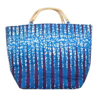 Blue and Purple Pebble Cotton Handle Handbag with Zipper