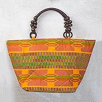 Cotton tote bag, 'First Lady' - Orange Kente-Inspired Yellow Cotton Print Tote Handbag
