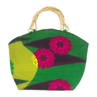 Green Floral African Print Cotton Handbag Tote