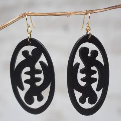 Ebony wood dangle earrings, 'Gye Nyame in Symmetry' - Symbol of Faith Ebony Wood Dangle Earrings from Ghana