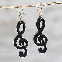 Ebony wood dangle earrings, 'Double Treble' - Handcrafted Treble Clef Motif Ebony Wood Dangle Earrings