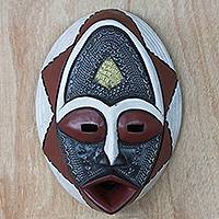 African wood mask, 'Noble Lover' - African Sese Wood Mask in White Red and Black from Ghana