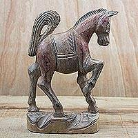 Wood sculpture, 'Prancing Horse' - Hand-Carved Sese Wood Brown Prancing Horse Sculpture