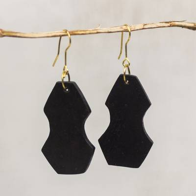 Ebony wood dangle earrings, 'Hourglass' - Handcrafted Elongated Octagon Ebony Wood Dangle Earrings