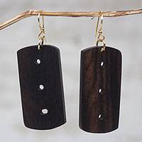 Ebony wood dangle earrings, 'Hint' - Handcrafted Ebony Wood Rounded Rectangle Dangle Earrings