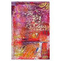 'Fiery Jungle' - Signed Vibrant Abstract Painting from Ghana