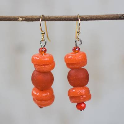 Recycled glass bead dangle earrings, 'Renewed Fire' - Red-Orange Recycled Glass and Plastic Bead Dangle Earrings
