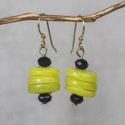 Recycled glass beaded dangle earrings, 'Renewed Cheer' - Yellow Recycled Glass and Plastic Beaded Dangle Earrings
