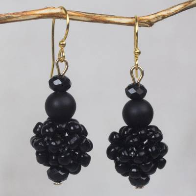 Recycled glass beaded dangle earrings, 'Renewed Fervor' - Black Recycled Glass and Plastic Bead Dangle Earrings