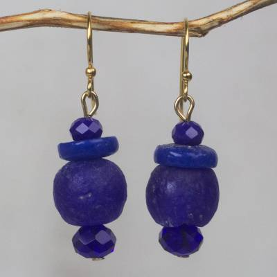Recycled glass beaded dangle earrings, Sustained Calm