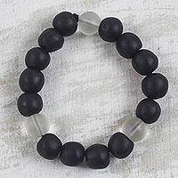 Recycled glass beaded stretch bracelet, 'Monochrome Mood' - Black and White Recycled Glass Beaded Stretch Bracelet