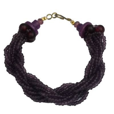 Artisan Crafted Purple Recycled Glass Beaded Bracelet