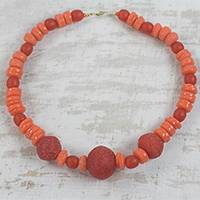 Recycled glass beaded necklace, 'Tropicana Color' - Artisan Crafted Orange Recycled Glass Beaded Necklace