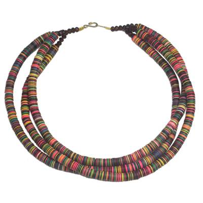 Multi-Colored Recycled Plastic and Glass Beaded Necklace