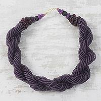 Recycled glass torsade necklace, 'Violet Sky' - Dark Purple Recycled Glass Beaded Torsade Necklace