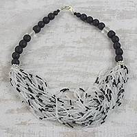 Recycled glass beaded necklace, 'Zebra Dazzle' - Black and White Recycled Glass Beaded Statement Necklace