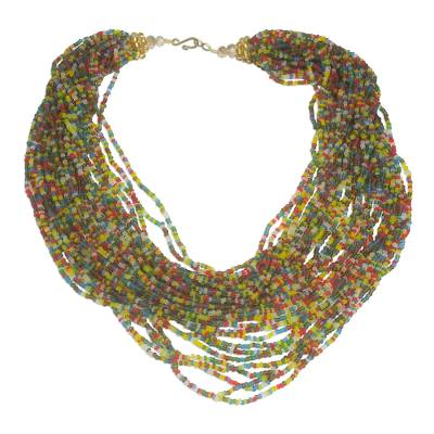 Multi-Colored Recycled Glass Beaded Torsade Necklace