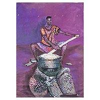 'Just Taste and Eat' - Signed Expressionist Painting of a Woman Cooking from Ghana