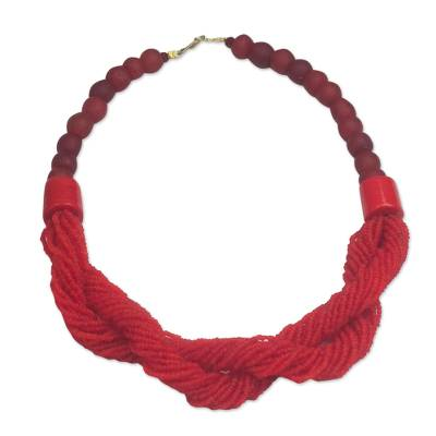 Red Recycled Glass Beaded Torsade Statement Necklace