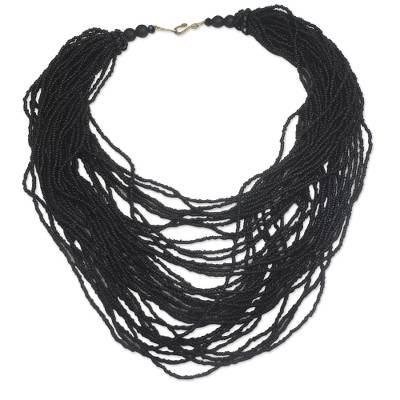 Handcrafted Black Recycled Glass and Plastic Beaded Necklace