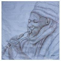 'Out of Breath' - Signed Expressionist Painting of a Flutist from Ghana