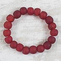 Recycled glass beaded stretch bracelet, 'Red Embers' - Glowing Red Recycled Glass Beaded Stretch Bracelet