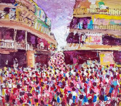 'Busy Day' - Signed Impressionist Cityscape Painting from Ghana