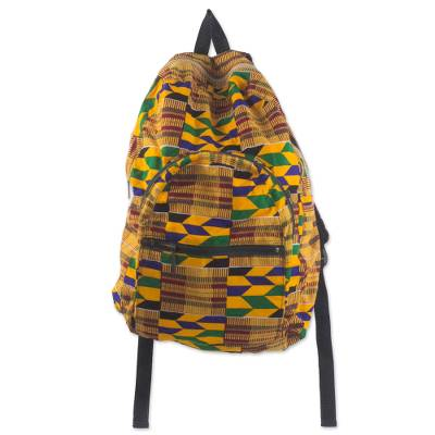 Kente-Inspired Cotton Backpack with Adjustable Straps