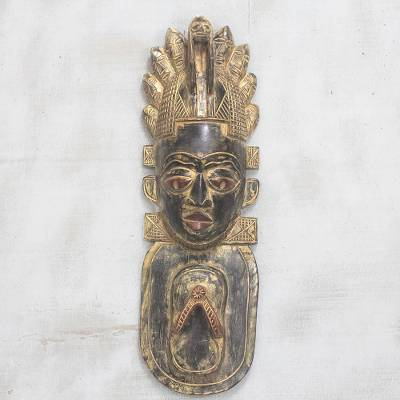 African wood mask, 'Festac Chief' - Hand Carved Sese Wood Wall Mask from Ghana