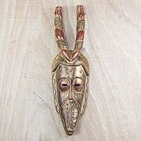 African wood mask, 'Horned Bird Spirit' - Hand Carved Sese Wood Horned Beak Bird West African Mask