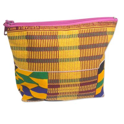 Kente-Inspired Yellow Geometric Cotton Cosmetic Bag