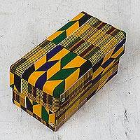 Cotton jewelry box, 'Kente Treasure' - Kente Cloth Motif Cotton Jewelry Box from Ghana
