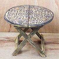 Wood folding table, 'Cultural Africa' (Ghana)