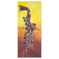 'Industrious Woman II' - Printed Cotton Expressionist Painting of an African Mother