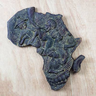 Wood relief panel, 'African Musicians' - Handcrafted African Wood Relief Panel Celebrating Music
