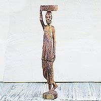 Wood sculpture, 'Kayayo Porter' - Mahogany Wood Sculpture of an African Porter from Ghana