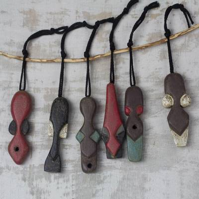 Wood ornaments, Nkabom Tumi (set of 6)