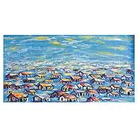 'Urban Village in the Evening' - Signed Impressionist Painting of an African Village