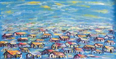 'Urban Village in the Evening' - Signed Expressionist Painting of an African Village