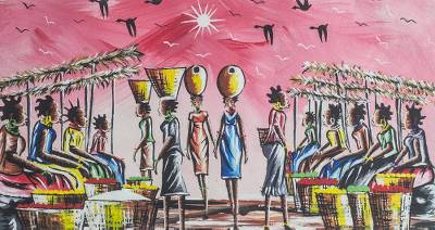 'Market Scene' - Signed Expressionist Market Scene Painting from Ghana