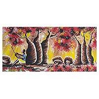 'Baobab Tree' - Signed Expressionist Painting of Baobab Trees from Ghana