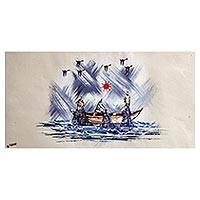 'Fishermen' - Signed Expressionist Painting of Fishermen from Ghana