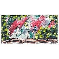 'African Style of Dance' - Signed Expressionist Painting of People Dancing from Ghana