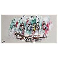 'Warriors I' - Signed Expressionist Painting of African Warriors from Ghana