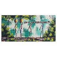 'Farmers' - Signed Expressionist Painting of African Farmers from Ghana