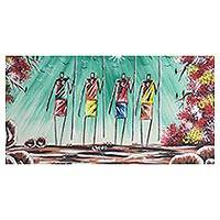 'Warriors II' - Signed Expressionist Painting of Warriors from Africa