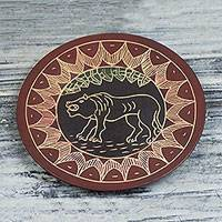 Wood decorative plate, 'Lion Totem' - Hand-Carved Round Roaring Lion Sese Wood Decorative Plate