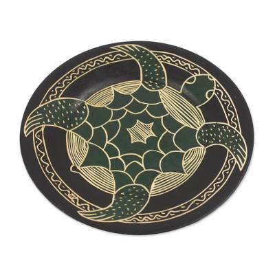 Hand-Carved Round Swimming Turtle Sese Wood Decorative Plate