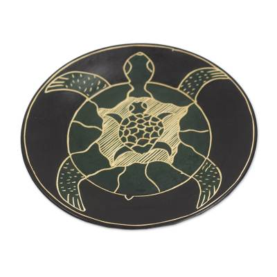 Hand-Carved Sea Turtle Family Sese Wood Decorative Plate