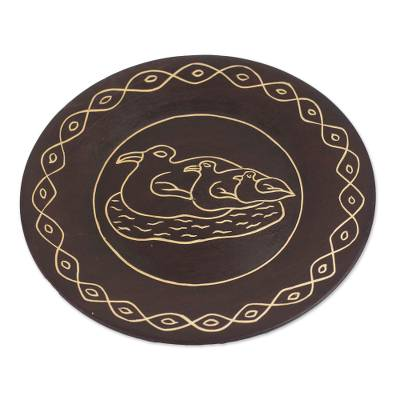 Hand-Carved Wood Mother Duck and Ducklings Decorative Plate